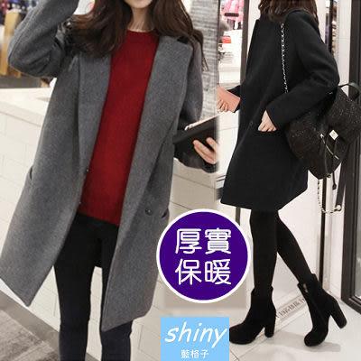 【V309現貨中】shiny藍格子-輕熟時尚.簡約翻領毛呢長袖中長版大衣外套