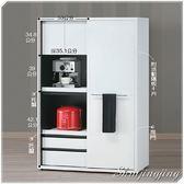【水晶晶家具】碧琪黑白4*6呎超大容量餐碗櫃 BL8706-4