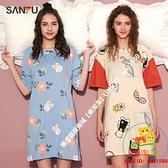 三福夏季韓版家居服連身裙趣味可愛印花可外穿睡衣女438455【樂淘淘】