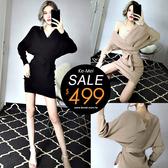 克妹Ke-Mei【ZT56322】可霸氣可迷人的深V低胸腰帶針織洋裝
