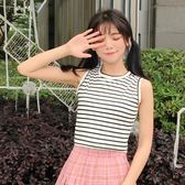新款韓版女裝短款休閑小背心學生條紋露臍裝修身打底上衣