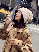針織帽子女秋冬純色毛線帽日系百搭時尚正韓潮月子帽?後冬季冷帽