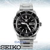 SEIKO 精工手錶專賣店 國隆 SNZH55K1 5號機械男錶 不鏽鋼錶帶 黑色錶面 防水100米 日期/星期顯示