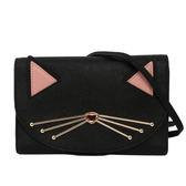 【KATE SPADE】貓造型防刮皮夾式斜背包(黑色) WKRU3102 926