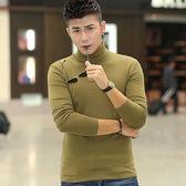 男士秋季莫代爾高領長袖t恤男裝修身打底衫緊身體恤韓版上衣服血『小淇嚴選』