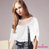 【SHOWCASE】氣質網紗領緞帶袖上衣(白)