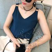 (中秋大放價)夏裝新品寬鬆雙層雪紡吊帶背心女素色大尺碼短版無袖打底衫上衣