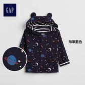 Gap男嬰兒 純棉休閒兩穿連帽休閒上衣 寶寶印花外套374302-海軍藍色