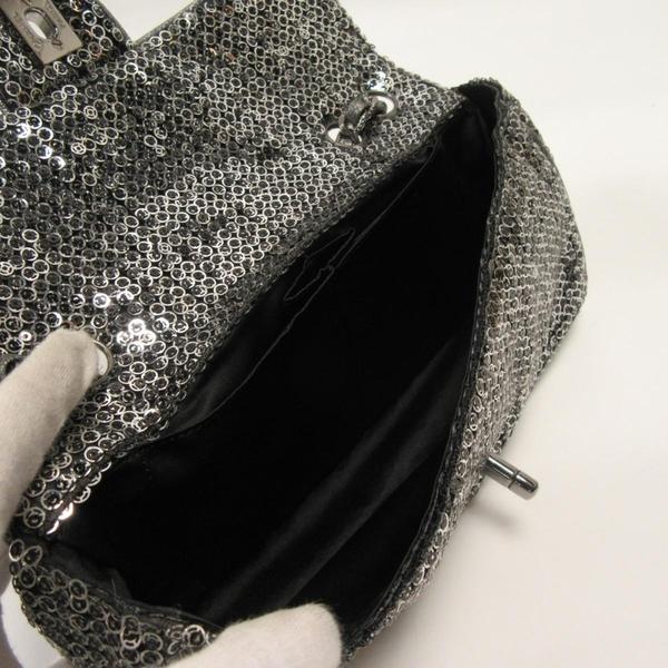 CHANEL 香奈兒 銀色亮片銀釦雙蓋肩背包 Sequins East West Flap Bag【BRAND OFF】