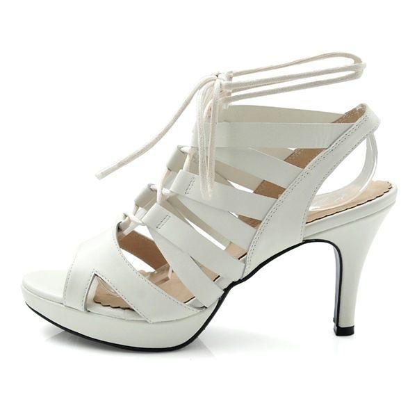 全真皮羅馬繞帶高跟涼鞋-白色‧karine(MIT台灣製)
