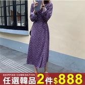任選2件888連身裙溫柔碎花少長袖系帶中長版連身裙【08G-M1574】