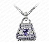 925純銀項鍊 鑲鑽吊墜-璀璨包包生日情人節禮物女飾品3色73aj134【巴黎精品】