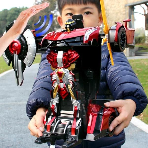 遙控變形車感應變形充電動男孩兒童玩具