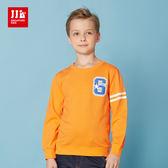 JJLKIDS 男童 美式街頭造型圓領純棉T(亮橙)