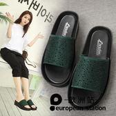涼拖鞋/平底女水鉆厚底休閒一字拖涼鞋「歐洲站」