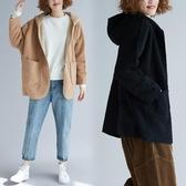 羊羔絨連帽毛呢外套 休閒秋冬新品胖mm加大尺碼顯瘦純色對襟長袖開衫