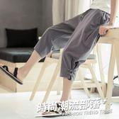 亞麻薄款七分褲棉麻寬松燈籠褲中國風男士闊腿褲夏季大碼休閒褲子