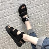 韓版原宿風厚底涼鞋女夏情侶平底魔術貼運動學生鞋休閒男女沙灘鞋新品上新