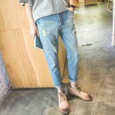 春夏日系小清新純色9九分韓版修身學生青少年復古做舊破洞牛仔褲