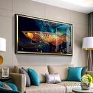 招財金龍魚裝飾畫現代簡約輕奢飯廳餐廳牆面掛畫客廳大氣壁畫高檔MBS「時尚彩紅屋」