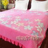 水晶絨床蓋一面絨一面棉雙面床單厚夾棉防滑單珊瑚絨床上鋪毛毯墊MBS「時尚彩虹屋」