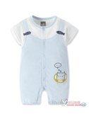 連身裝 童裝兒童連身衣男女寶寶連身衣夏短袖連身衣假兩件哈衣爬服 3色