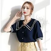 雪紡襯衫女夏海軍領短袖韓版寬松設計感小眾洋氣氣質時尚襯衣潮 快速出貨