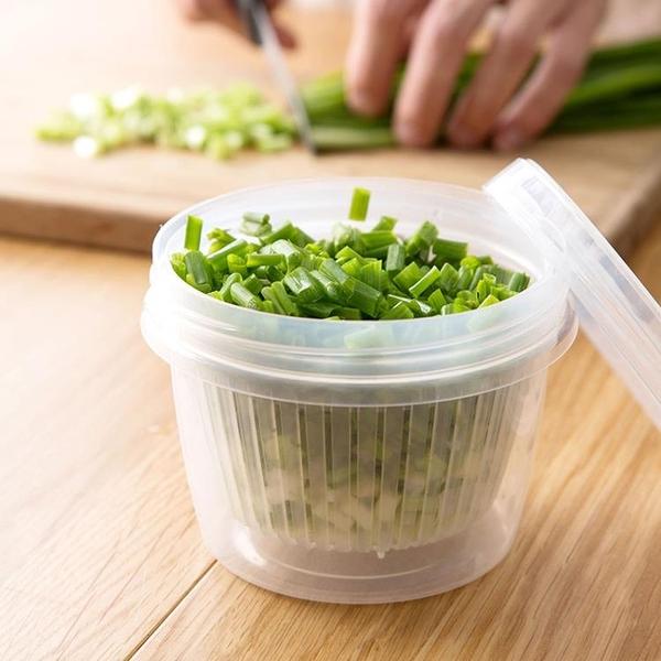 廚房蔥花薑蒜保鮮盒冰箱瀝水保鮮收納盒塑膠食物密封盒子 ATF 母親節禮物