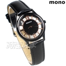 mono 羅馬 鏤空 精美時尚 設計美學 藍寶石水晶 真皮錶帶 小羊皮 女錶 黑色x玫瑰金 5003B鏤槍玫小
