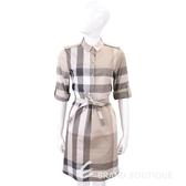 BURBERRY 淡石色格紋棉質襯衫式洋裝(附腰帶) 1730437-06