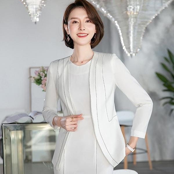 白色流線領口線條顯瘦西裝外套[20S118-PF]美之札