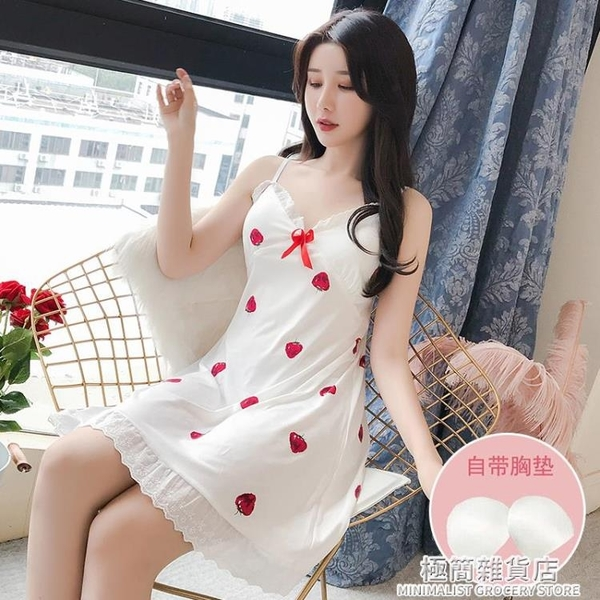 吊帶睡裙夏季帶胸墊甜美薄款性感花邊純棉睡衣女士家居服夏天 極簡雜貨