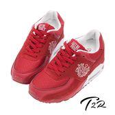 【韓國T2R】韓劇情侶熱銷款 9公分雙氣墊隱形增高休閒鞋 紅白(5600-0178)
