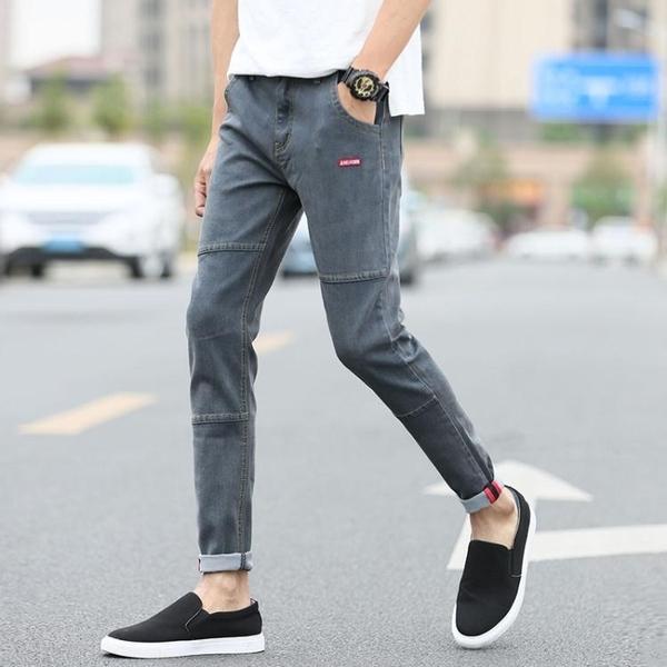 牛仔褲男青少年加絨加厚長褲彈力修身小腳褲正韓褲子男冬季【快速出貨】