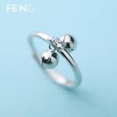 轉運珠戒指女純銀韓版創意可愛食指帶小鈴鐺開口戒子刻字閨蜜禮物