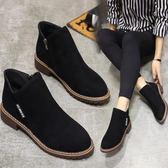 新品馬丁靴女靴 學生平底短靴加絨棉靴粗跟磨砂單靴子