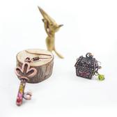 【粉紅堂 飾品】可愛鑰匙不對稱耳環 *古銅色*