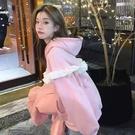 粉色連帽運動衫女裝設計感小眾春秋季2021新款chic寬鬆韓繫上衣ins仙女風網紅