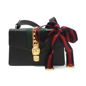 GUCCI 古馳 黑色牛皮緞帶造型金釦肩背包 Sylvie 421882 【二手名牌BRAND OFF】