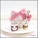 簡約精緻小禮袋-金色鏟子叉子湯匙組+英國果醬(粉色緞帶+白大理石紋袋) 畢業禮物 Tiptree