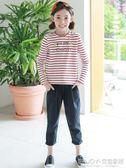 女童條紋打底衫 紅白條紋t恤女童韓版長袖中大童打底衫可愛卡通印花童裝 宜室家居