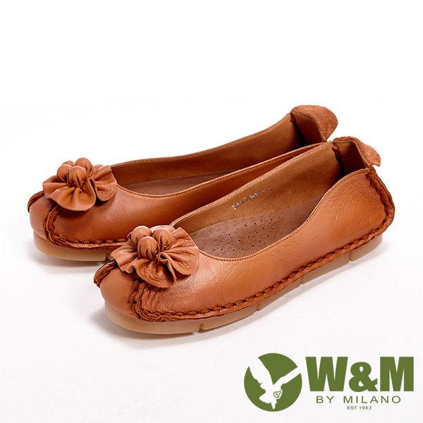 【W&M】 真皮柔軟花朵朵休閒女鞋-駝(另有黑/藍)