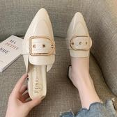 包頭半拖鞋女高跟外穿跟尖頭涼拖鞋 艾美時尚衣櫥