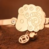 玫瑰金鑲鑽純銀手鍊-可愛小羊生日情人節禮物羊上有錢飾品71ah21【巴黎精品】