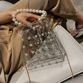 珍珠透明果凍小包包女包新款潮鍊條包手提斜背包百搭ins