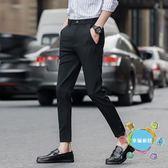 (中秋大放價)西褲薄款9分褲男士褲子正韓潮流百搭新品小腳夏季休閒西褲九分褲xw