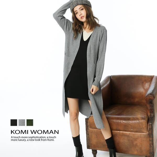 【南紡購物中心】KOMI-大口袋坑條長版針織毛衣外套‧三色