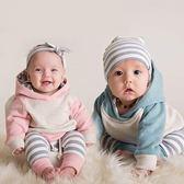 長袖套裝 秋款男女寶寶條紋連帽套裝3件組 W76027 AIB小舖