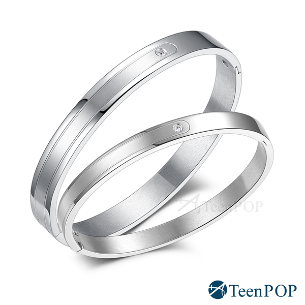 情侶手環 ATeenPOP 西德鋼手環「攜手一生」銀色款*單個價格*