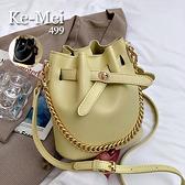 克妹Ke-Mei【ZT67526】Chic復古名媛金屬鍊鎖大容量皮質水桶包